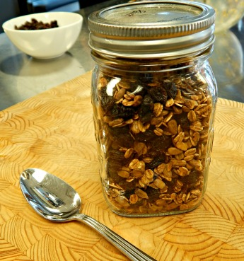 granola in a mason jar