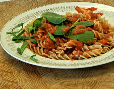 iron and vitamin C, pasta, tomato sauce