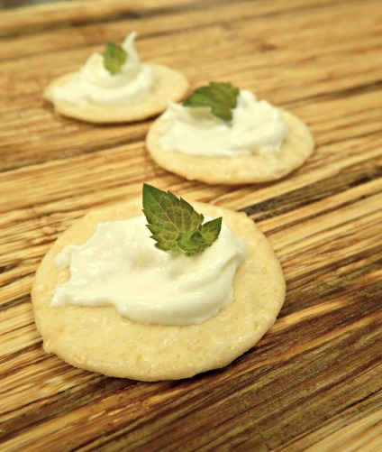 yogurt cream cheese on crackers