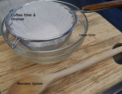spoon, coffee filter, large bowl are needed to make this recipe