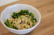 Salad with navy beans, broccoli, and couscous