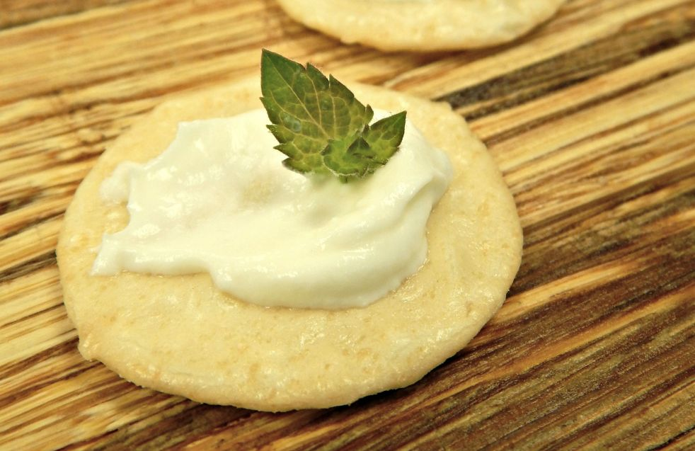 homemade cream cheese on crackers