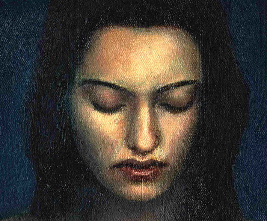 Artistic painting of woman with eyes closed