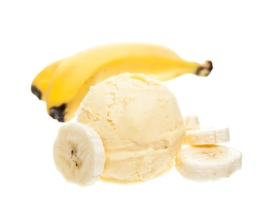 a scoop of banana ice cream next to a banana isolated on white background