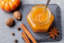 Pumpkin puree in glass jar