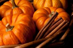 Pumpkins with cinnamon sticks