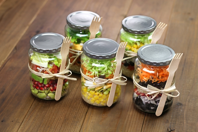 5 homemade healthy salad in glass jar