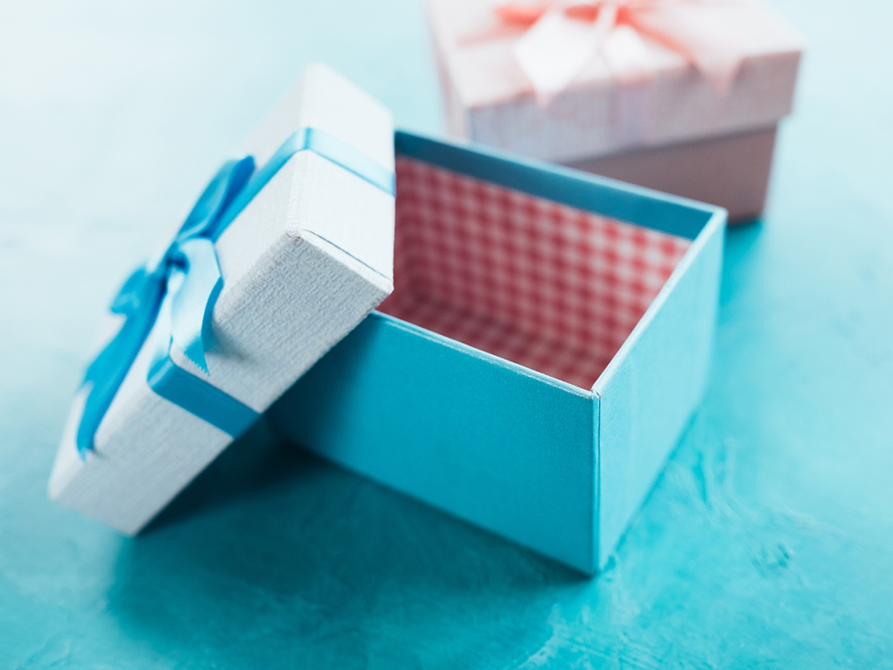 open blue gift box surprise