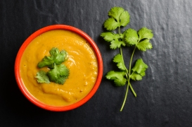 Bowl of fresh homemade sweet potato soup