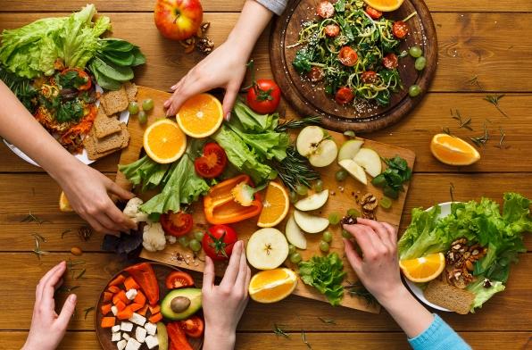 Healthy food on a dinner table.