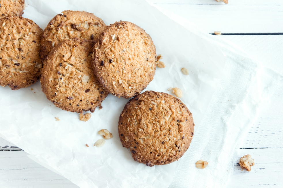 Healthy cookies on white background