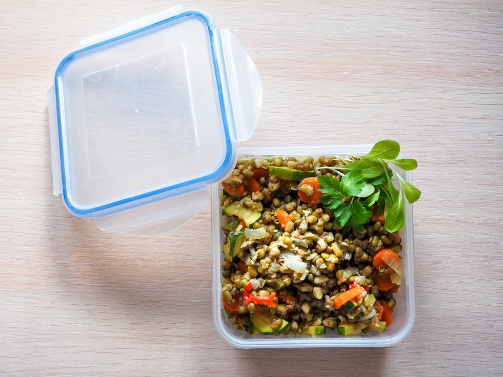 Square plastic food container