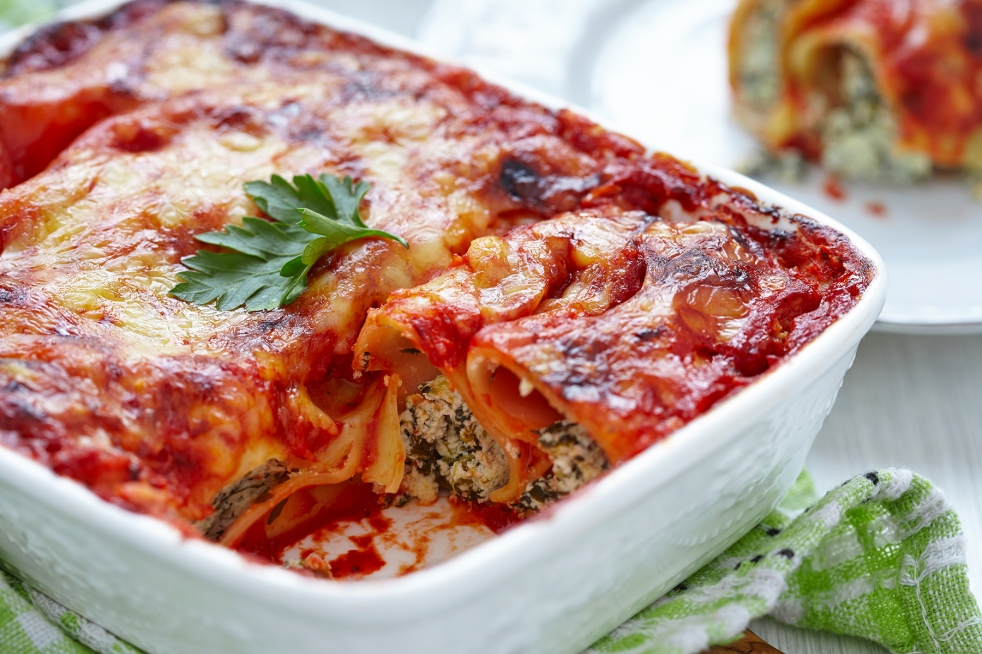 Lasagna in white baking dish