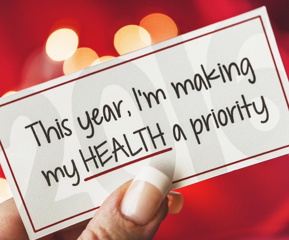 "Label with words ""This year, I'm making my health a priority"