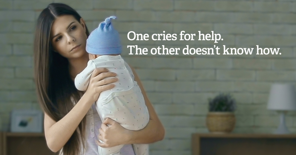 "Parent holding baby with text ""one cries for help. The other doesn't"""