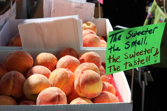 Peaches at a farm market