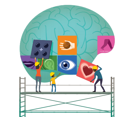 Illustration of people on scaffold posting images on a brain