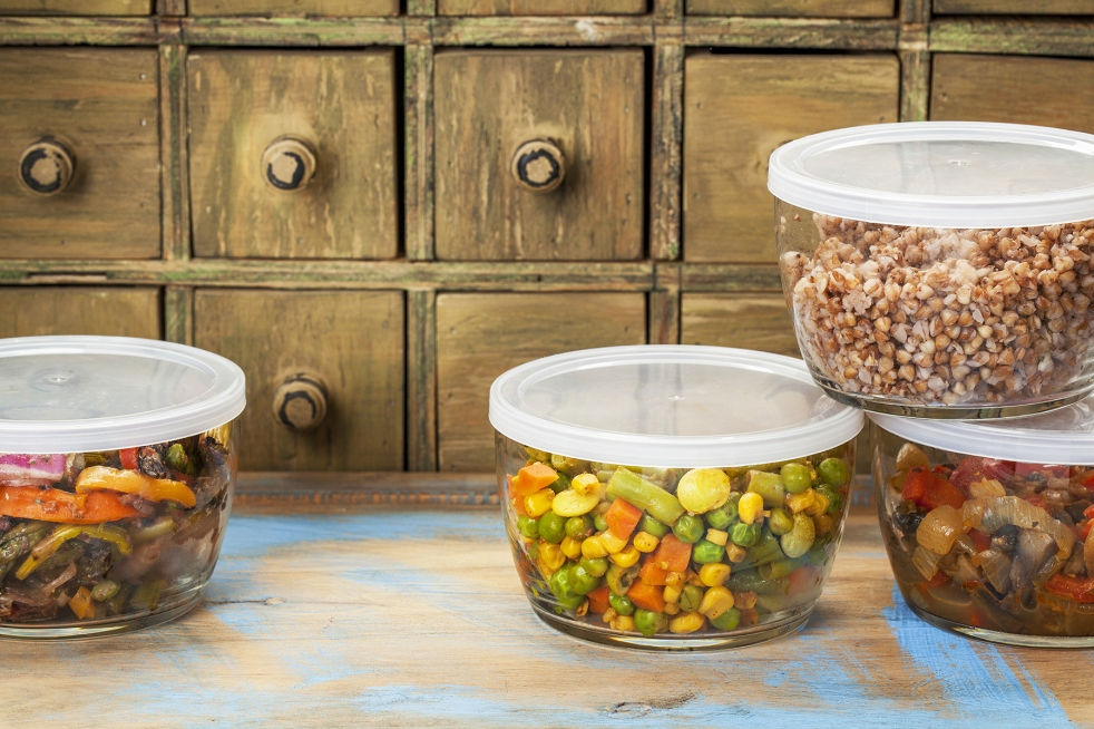 Leftovers stored in glass containers